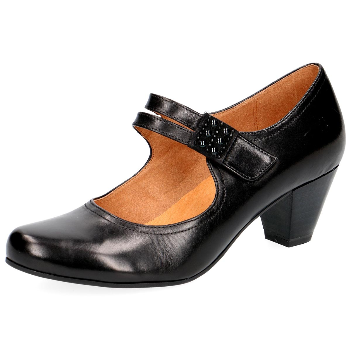Caprice - Bernie Black Leather Court Shoe