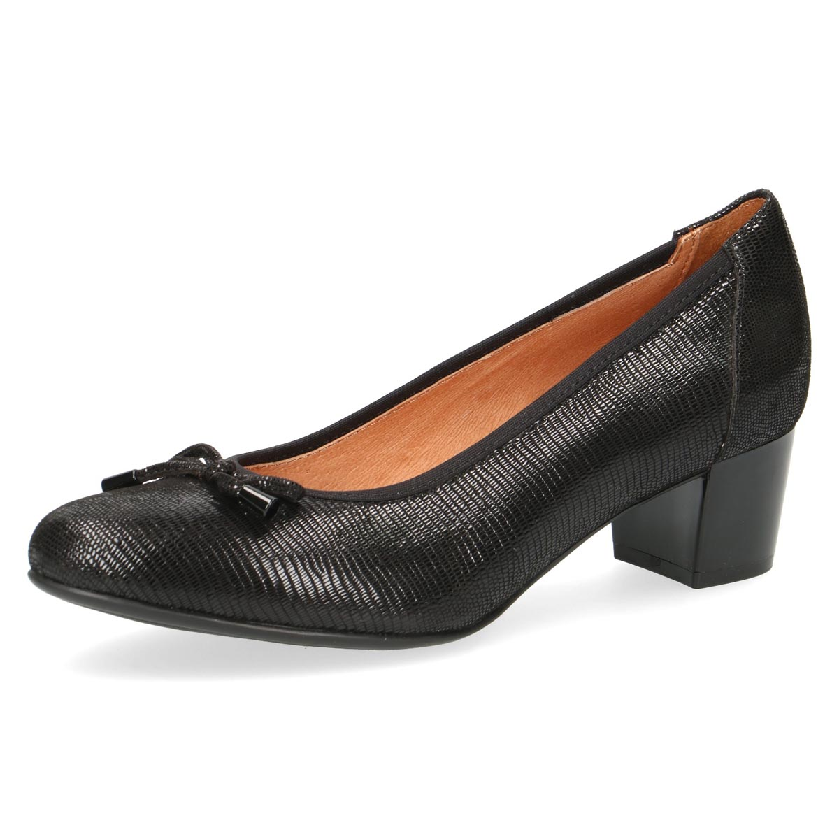Caprice- Beryl Black Court Shoe