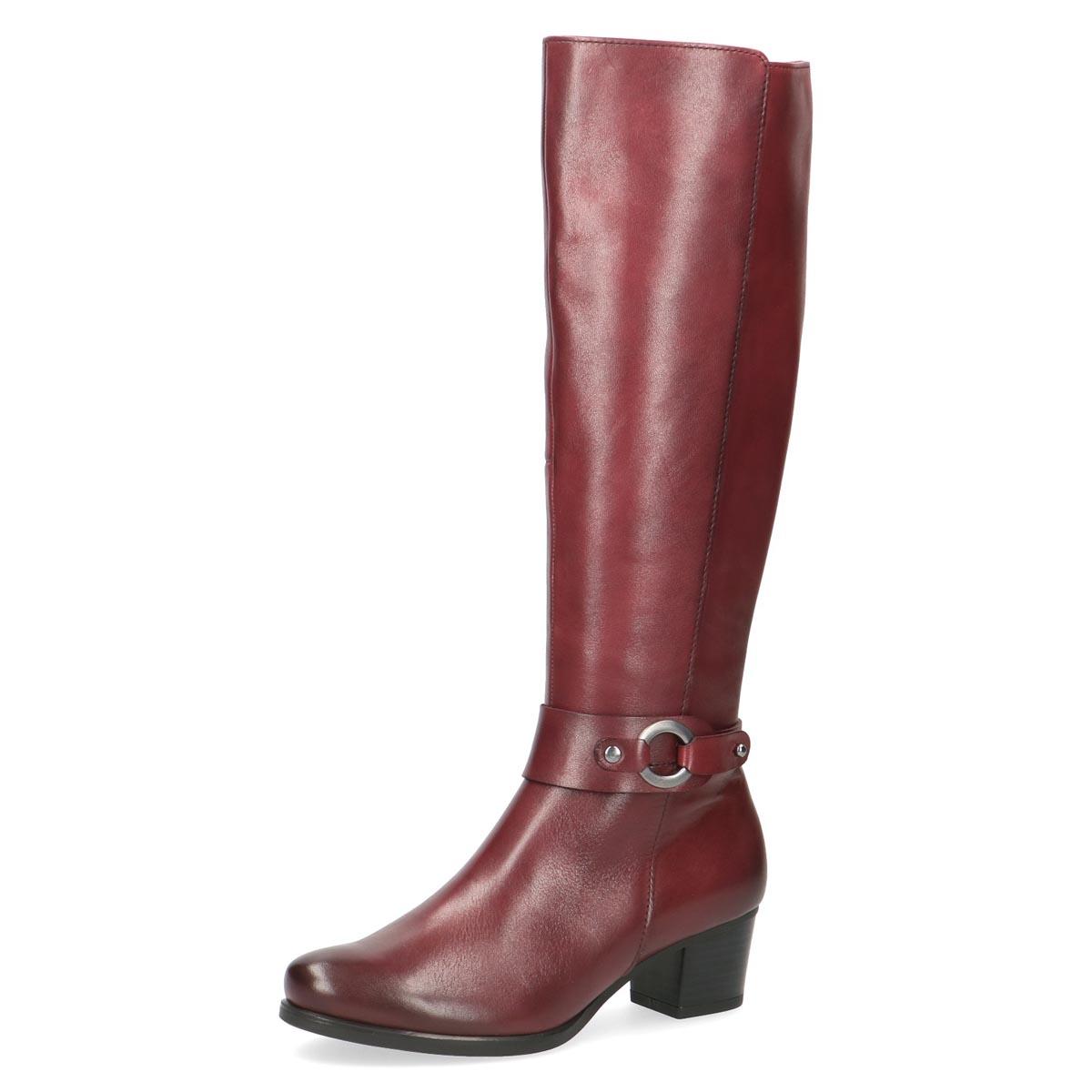 Caprice - Frieda Burgundy Leather Long Boot