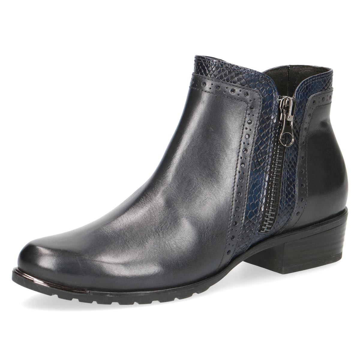 Caprice - Heidi Navy Leather Ankle Boot