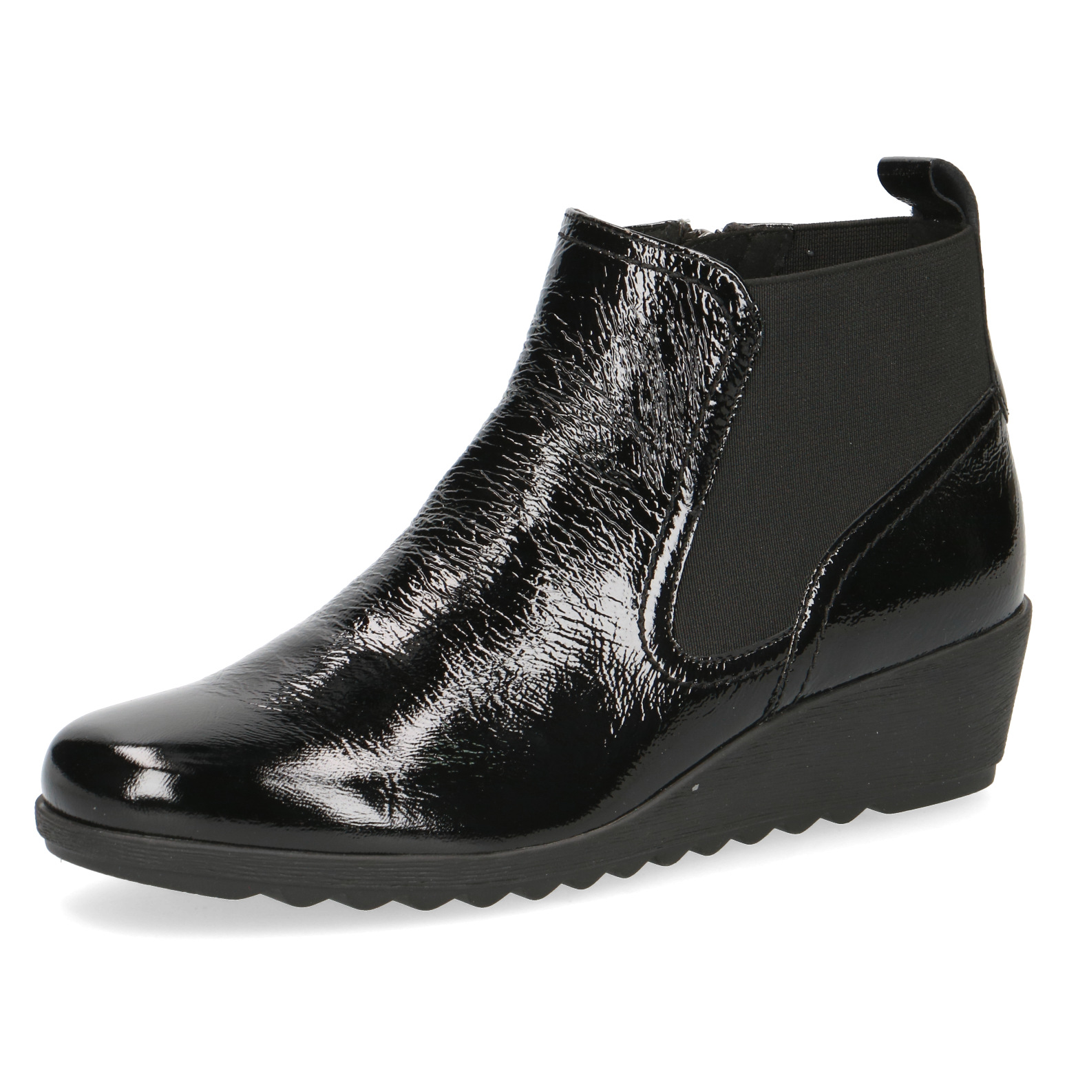 Caprice Iona Black Crackle Patent Leather Boot