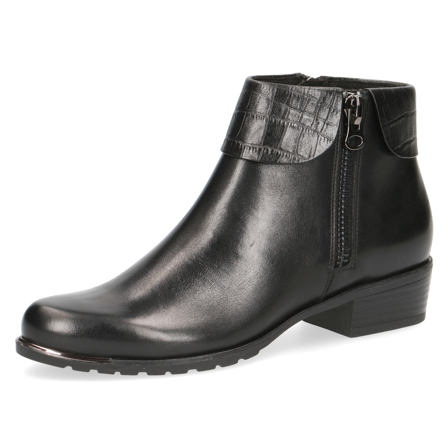Caprice Isabel Black Leather Ankle Boot