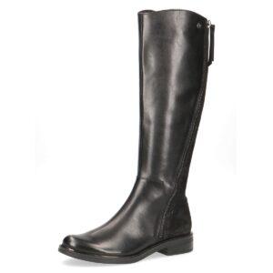 Caprice - Zebra Black Leather Dual Zip Long Boot