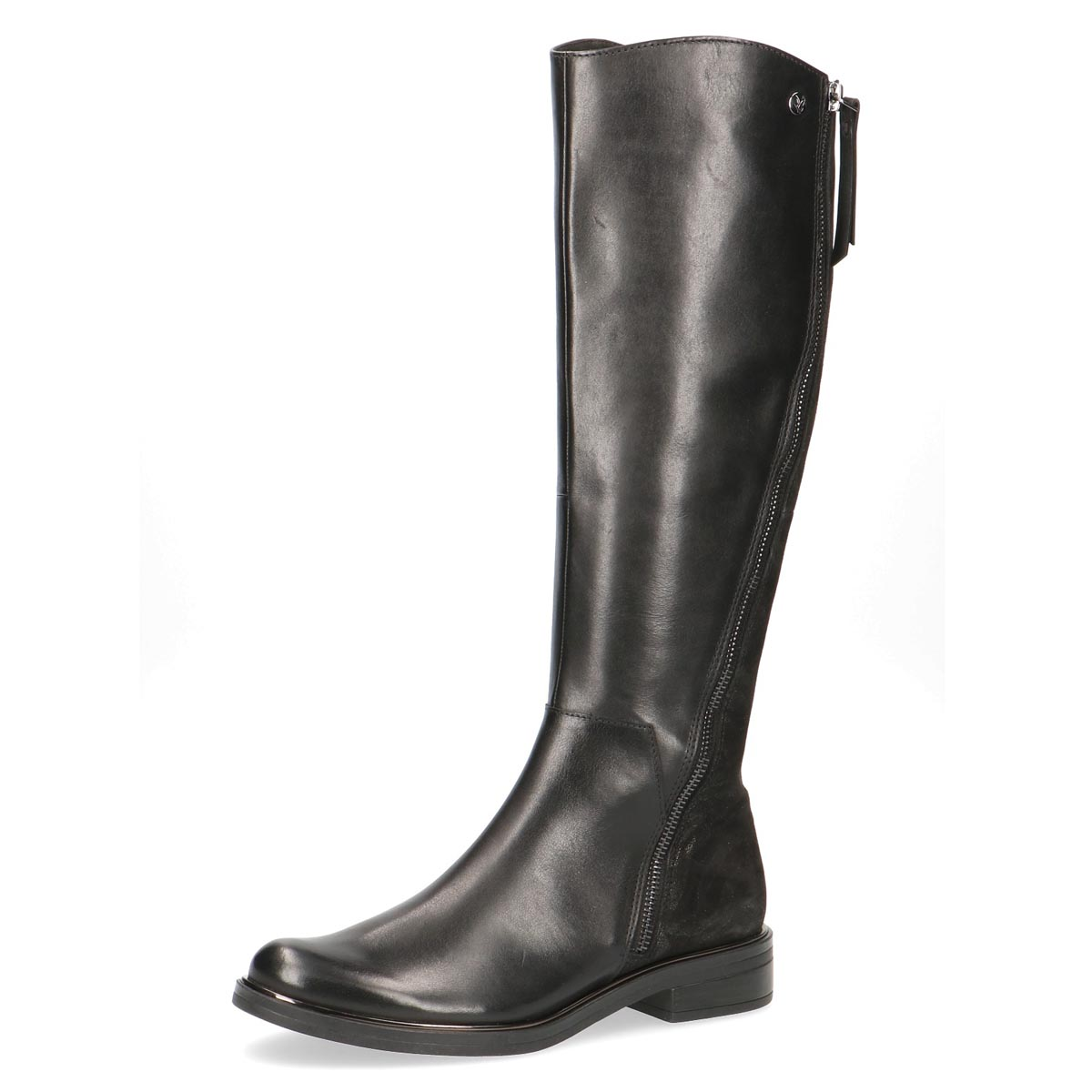 Caprice - Zebra Black Leather Dual Zip Long Boot