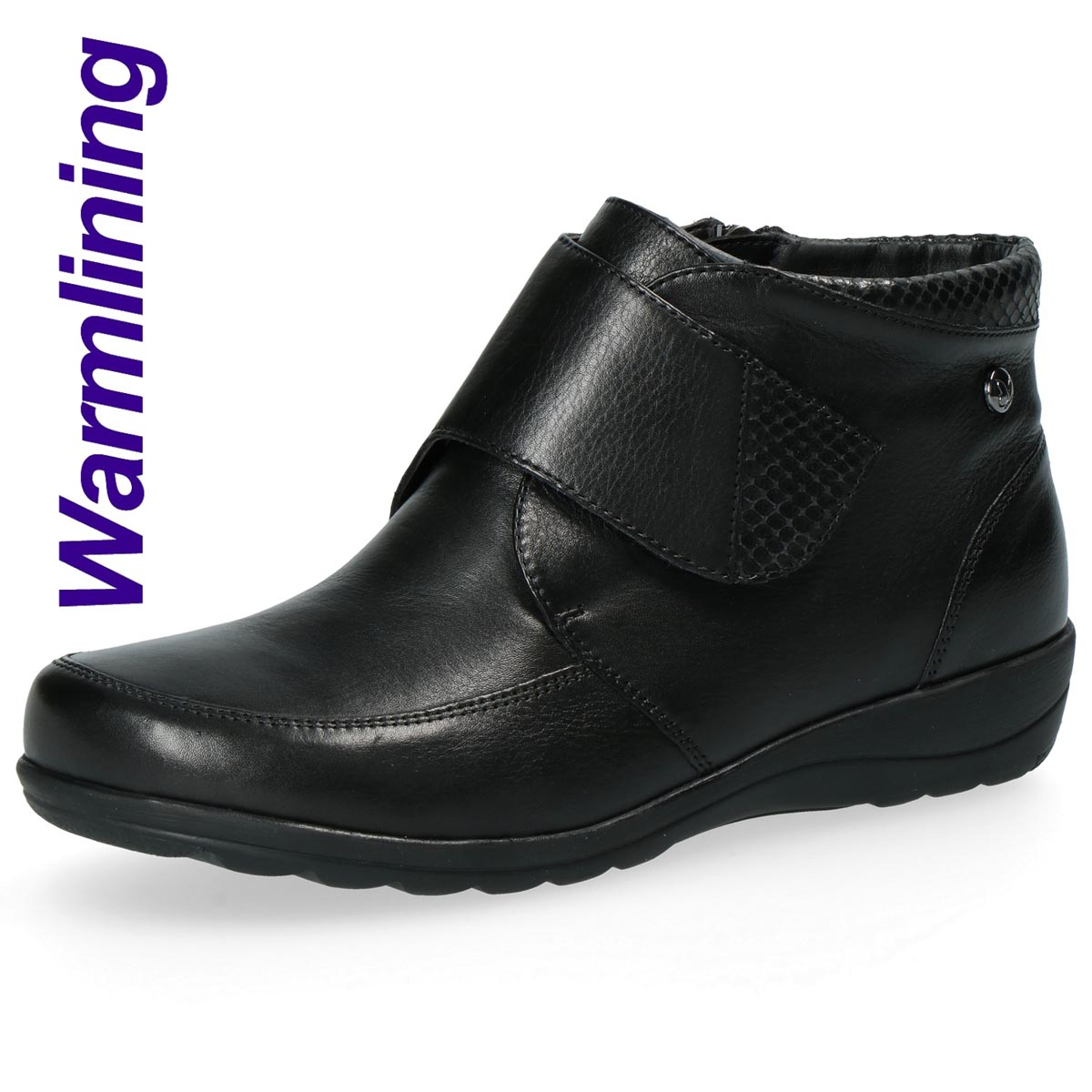 Caprice - Myrtle Black Leather Comfort Ankle Boot