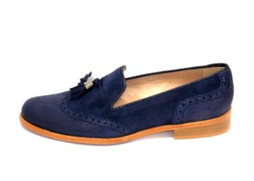 Lucia - HB Navy Suede Brogue