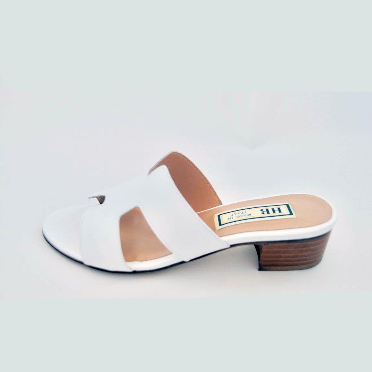 HB Italia - Sorrento White Leather Mule