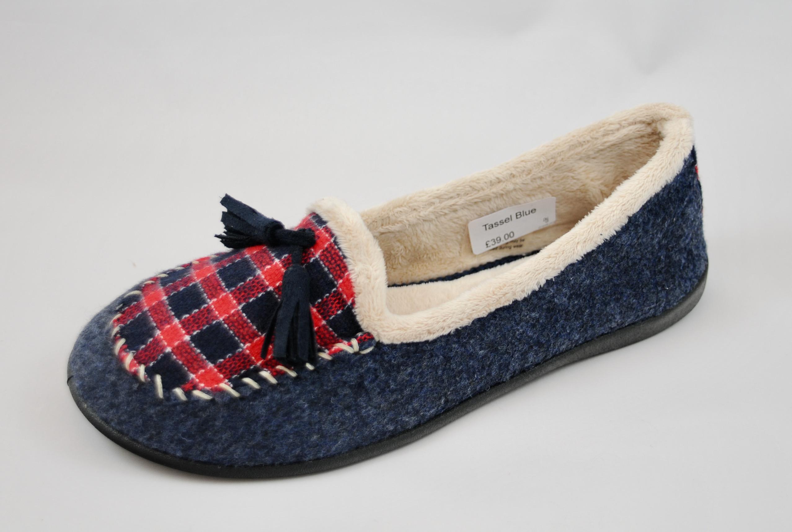 Padders Tassel Blue Slippers