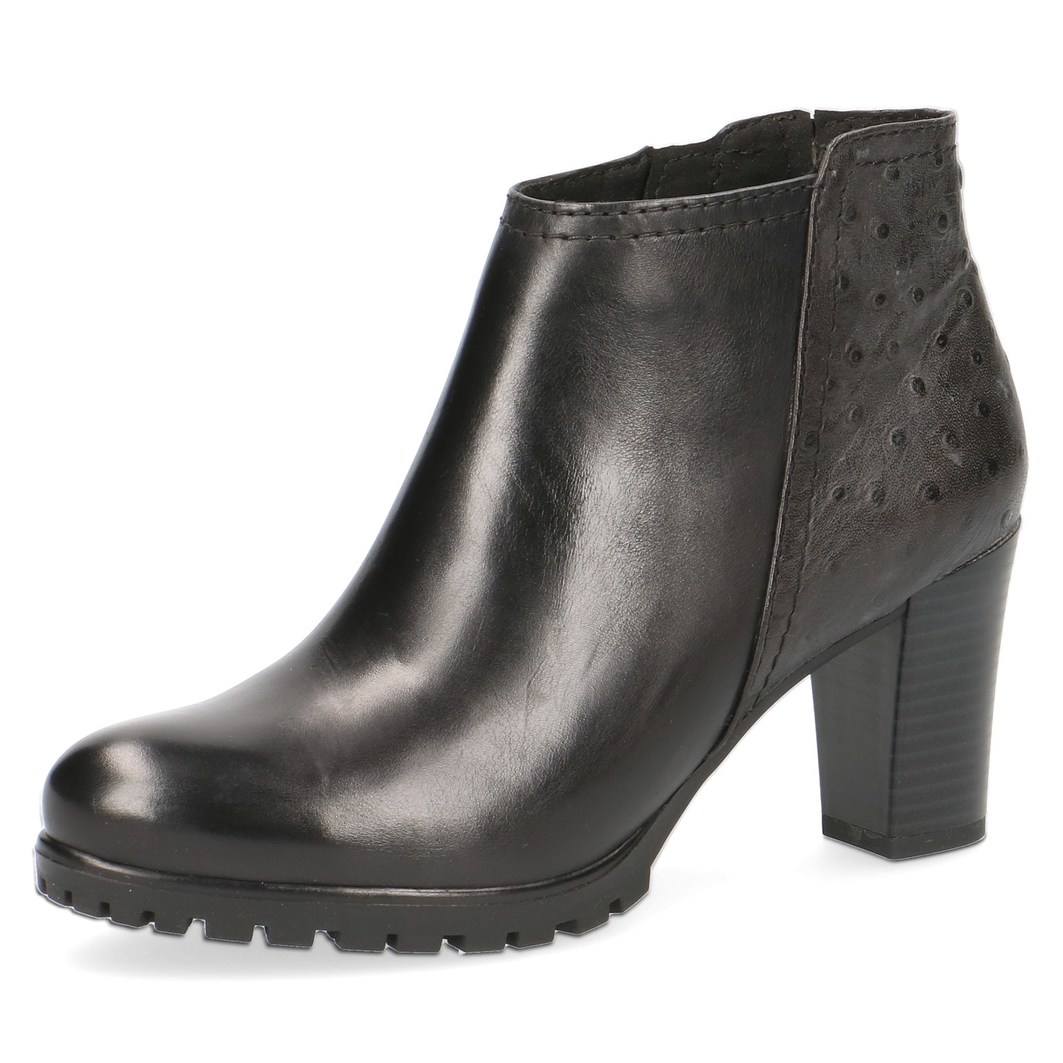 Caprice Louisa Black Leather Ankle Boot
