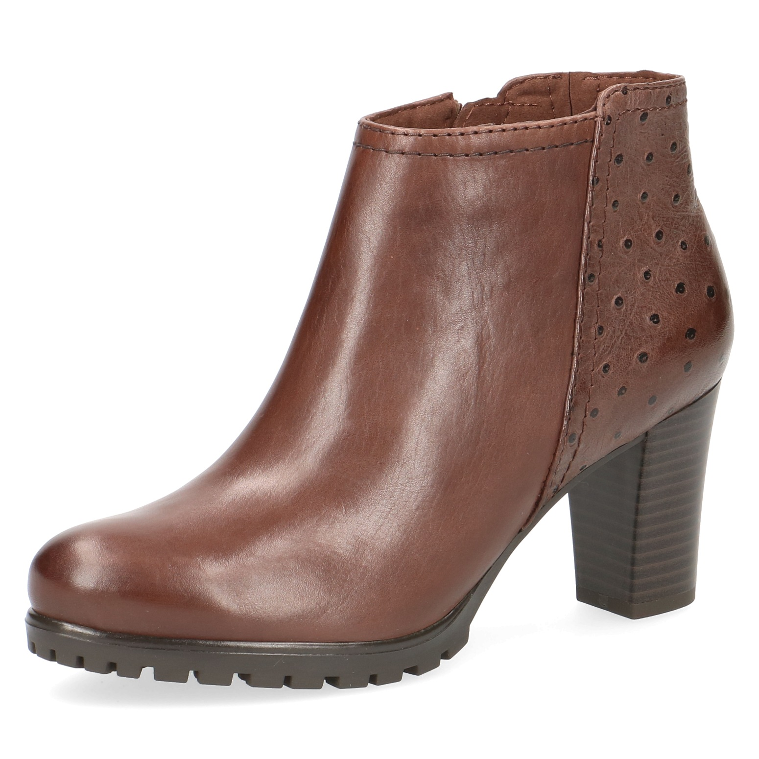 Caprice Brown Leather Ankle Boot