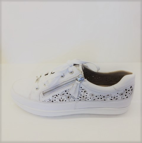 Caprice White Leather Sneaker
