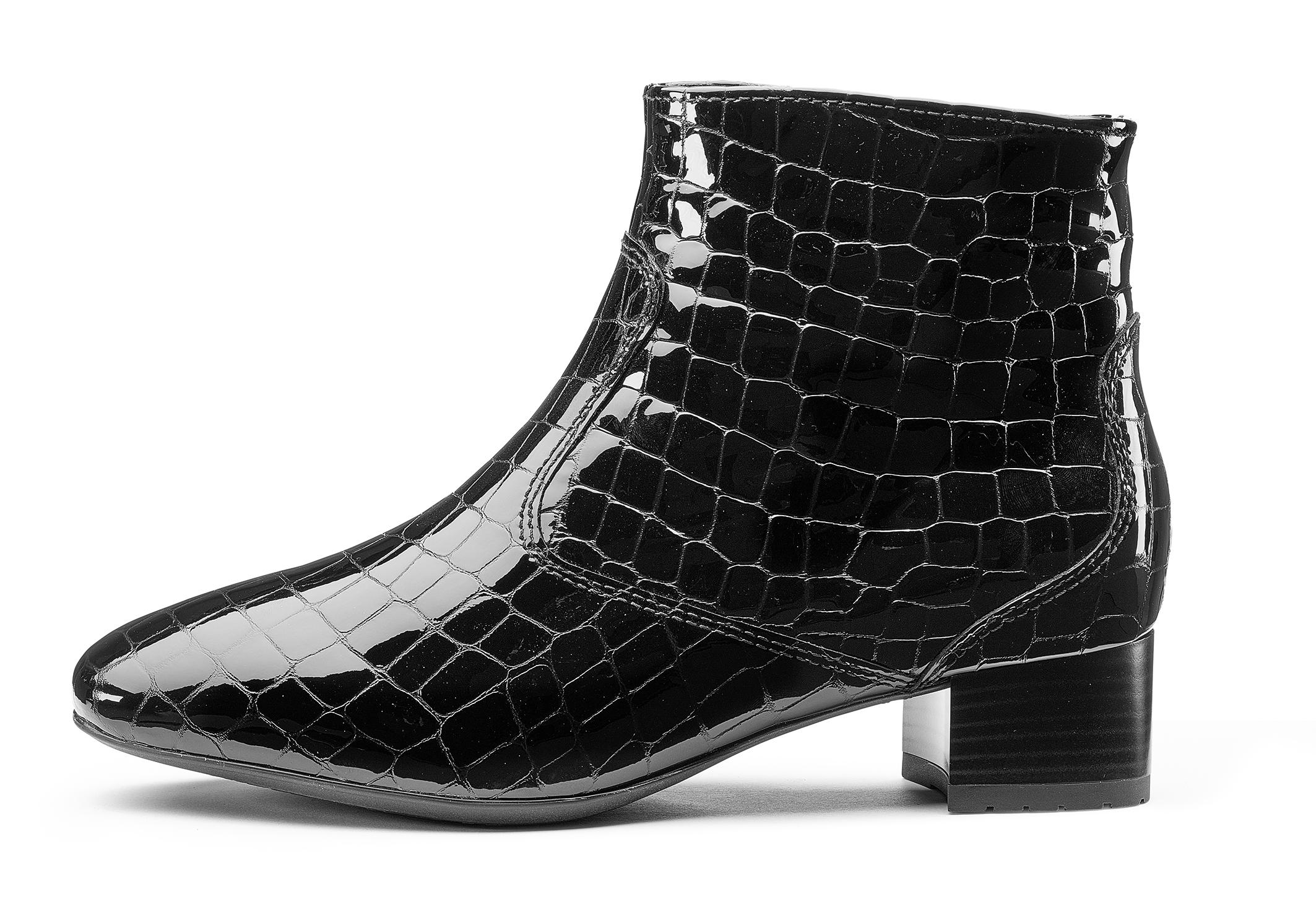 Ara Jainie Black Croc Patent Leather Ankle Boot