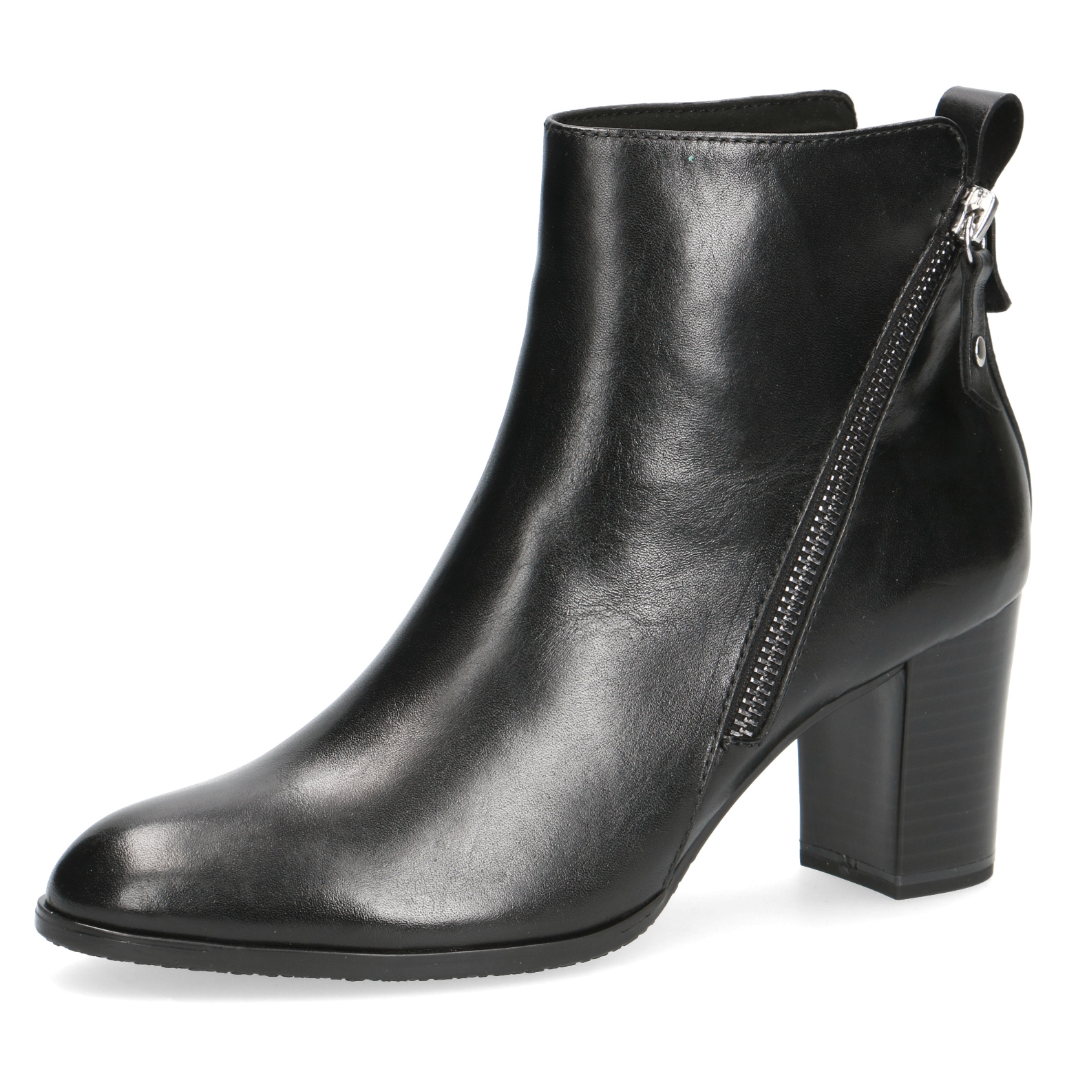 Caprice Black Leather Heeled Ankle Boot